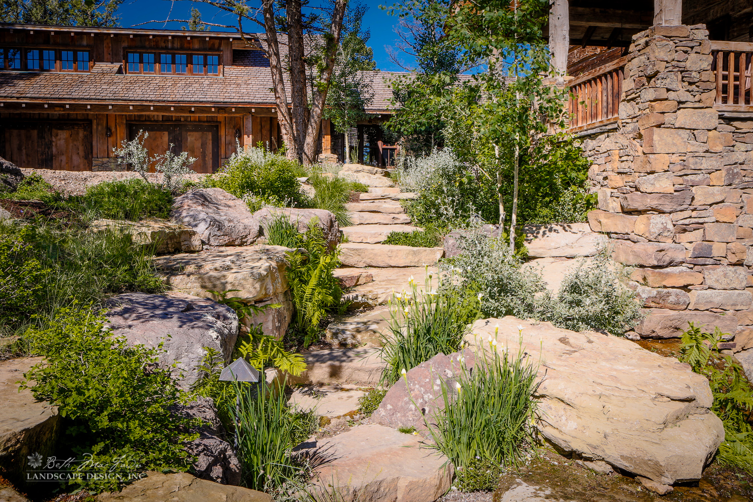 Photo of natural looking rocks and native plants with building in the background